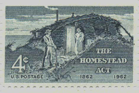 A 4-cent stamp issued in 1962 on the 100th anniversary of the Homestead Act.